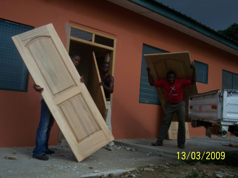 Doors Being Unloaded at the new building!